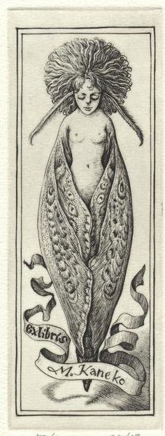 Yukiko Hayashi - The World of Bookplate : whimsical moth fairy illustration