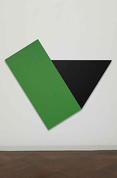 """Ellsworth Kelly, """"Green with Black Triangle"""", 1974, oil on canvas, 78 x 93 1/4 inches @ Aquavella Galleries"""