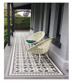 Some front porch inspiration - next job to tile the front po Balcony Tiles, Patio Tiles, Outdoor Tiles, Outdoor Flooring, Balcony Design, Porch Flooring Tiles, Concrete Tiles, Stamped Concrete, White Exterior Houses