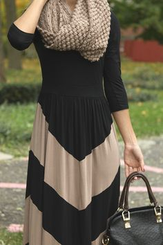 Long Sleeve Maxi Dress in Mocha and Black with scarf