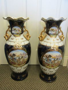 """Pair HUGE 24"""" signed LIMOGES cobalt blue heavy gold BIRDS porcelain floor vases"""