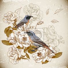 Papier peint Vintage fond floral avec des oiseaux