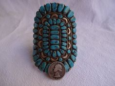 Signed Old Pawn Vintage NAVAJO Sterling Silver & TURQUOISE Cluster Cuff BRACELET