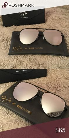 Quay High Key Sunglasses Quay x Desi Perkins High Key Sunglasses in black & silver. Excellent condition. Worn once for a few hours, but I've decided not to keep them because they don't suit my face shape. Look brand new. Includes soft case and hard shell tri-fold case. Quay Australia Accessories Sunglasses