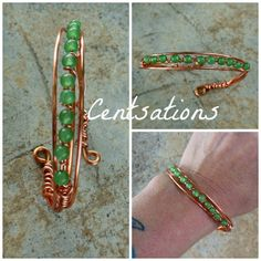 Green Bead Copper Cuff Bracelet Wire Wrapped by Centsations, $30.00