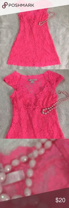 """Victoria's Secret Chemise Hot Pink Lace Delicate Victoria's Secret Chemise Negligee Night Gown  Hot Pink Lace  Delicate Cap Sleeves V-Neck Size S Gorgeous, Excellent Condition  Please see my measurements below and please know your measurements prior to purchase Under arm to under arm: 14"""" Top of shoulder to bottom hem: 28"""" Victoria's Secret Intimates & Sleepwear Chemises & Slips"""