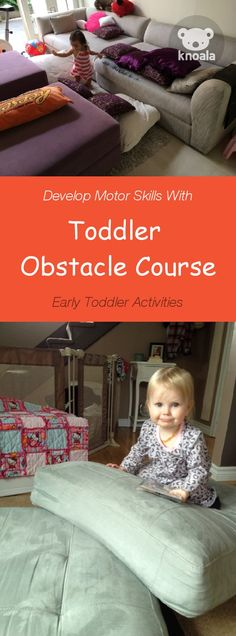#Knoala Early Toddler activity 'Toddler Obstacle Course' helps little ones develop Motor skills in just 10 mins. Click for simple instructions & 1000s more fun, easy, no-prep activities for kids ages 0-5! #activities #DIY