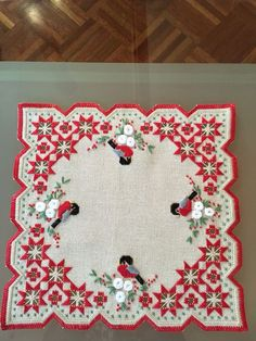 Christmas hardanger with birds Hardanger Embroidery, Paper Embroidery, Learn Embroidery, Embroidery Stitches, Embroidery Patterns, Bookmark Craft, Crochet Doily Patterns, Doilies Crochet, Drawn Thread