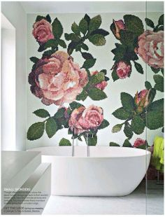 Bisazza glass mosaics in floral design; freestanding bath.  #bathrooms #plantlife #bisazza #floral