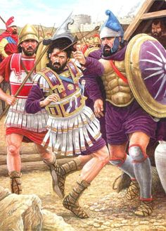 Philip II of Macedon geting hit in the eye by an arrow during a siege in Greece