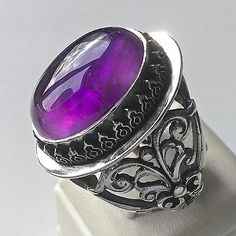 Handmade Amethyst Silver Mens Ring February Birthstone unique handcrafted