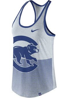 c3e0f89ff2420 Nike Chicago Cubs Womens Oatmeal Dri-Blend Logo Tank Top Cubs Gear