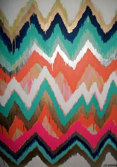 Smitten Too Original ikat chevron 36x48 Painting by Jennifer Moreman.