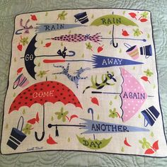 Rare Vintage Carl Tait Hanky - Rain Rain Go Away... Umbrellas, Cat, Dog