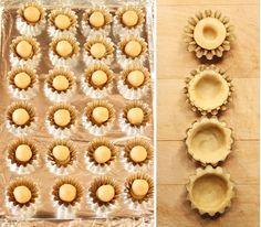 Making Mini Tart Shells Pie Crust Recipes, Pastry Recipes, Tart Recipes, Sweet Recipes, Dessert Recipes, Cooking Recipes, Simple Recipes, Mini Desserts, Christmas Desserts
