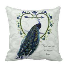 Peacock any yrs. marriedAnniversary Commemorative Pillow