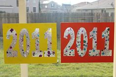 Sparkly New Year Suncatcher ~ Mom's Crafty Space - 2013 - contact paper with sparkle shapes and glitter.