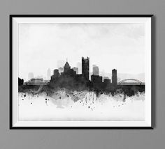 Pittsburgh Skyline Watercolor Art Print Poster by Macanaz