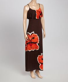 Love this Coffee & Red Floral Maxi Dress on #zulily! #zulilyfinds