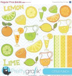 60% OFF SALE citrus lime, lemon, orange clipart commercial use, vector graphics, digital clip art, digital images - CL303