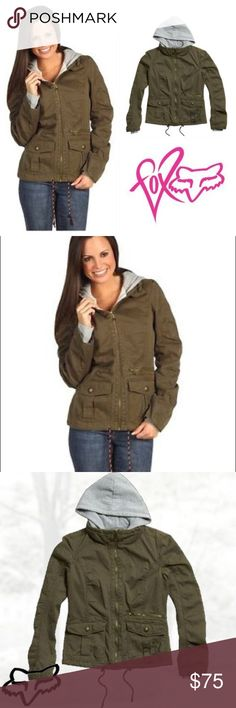 😆Fox Racing Womens Ellis 2Fer Hooded Jacket Rock the Layered Look in the Fox Ellis 2Fer Jacket. A Military-Inspired Jacket Complete With a Vintage Logo Screen Print, Paired With a Soft Fleece Lining and Hood. The Best of Both Worlds.  FEATURES  Fleece Hood and Body Liner Front Flap Pockets Braided Drawcord at Bottom Hem 100% Cotton Twill Fox Jackets & Coats