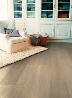 The pale colours of Quickstep Palazzo Vintage Oak Matt engineered wood floor are very fashionable right now, creating a light and airy space with the use of Nordic design inspiration. Engineered Timber Flooring, Parquet Flooring, Hardwood Floors, Quick Step Parquet, Wood Floor Kitchen, Tapis Design, Living Room Flooring, Flooring Options, Living Room Inspiration