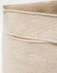 Crochet Bowl Bag - Lauren Manoogian From Lauren Manoogian, a large crochet bowl bag in Crudo. Features two slit handles, finished edges, round base and tapered cut. Crochet Bowl, Crochet Basket Pattern, Crochet Poncho Patterns, Quick Crochet, Hand Crochet, Knit Or Crochet, Crochet Storage, Yarn Storage, Wooden Yarn Bowl