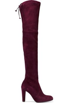 Stuart Weitzman - Highland Stretch-suede Over-the-knee Boots - Burgundy - IT39