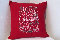 Embroidered Pillow Merry Christmas Pillow by SimplySaidStitches