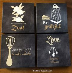 Canvas Art, Rustic Wall Decor, Canvas Set, Kitchen Home Decor, Any color scheme
