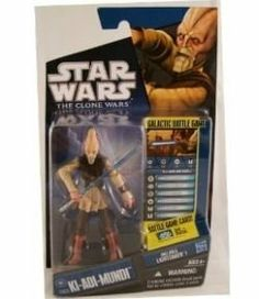 """Star Wars The Clone Wars Animated 3 3/4"""" Ki-Adi Mundi Action Figure by Hasbro. $7.99. For Ages 4 & Up. Star Wars: The Clone Wars 3 3/4"""" animated action figure from Hasbro. Figure comes with a lightsaber, Galactic Battle Game card, die and base. Ki-Adi-Mundi is figure # CW25 in the 2010 Clone Wars action figure line. Ki-Adi-Mundi is part of a massive attack to destroy a Geonosis factory churning out dangerous new battle droids. Damaged by enemy fire, the Jedi's trans..."""