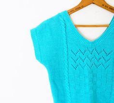 Aqua Blue Cropped Vintage Sweater / Pointelle Sweater Tank / Cable Knit Vintage Sleeveless Sweater / Small Sweater