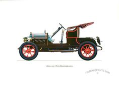 Antique print: picture of Opel 1909 (Type Doktorwagen) - Germany. Built especially for the middle class, it was agile and used by doctors for house calls