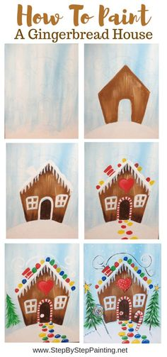 christmas paintings Learn to paint a gingerbread house step by step. This acrylic canvas painting tutorial is great for kids and includes a traceable of a gingerbread house. Canvas Painting Tutorials, Easy Canvas Painting, Painting For Kids, House Painting, Diy Painting, Art For Kids, Acrylic Canvas, How To Paint Canvas, Learn Painting