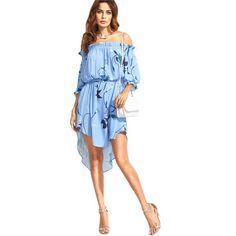 blue floral dress, high low dress, half sleeve flower print belted off the shoulder dress - Lyfie