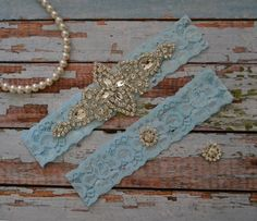 Blue Lace Wedding Garter, Blue Lace Rhinestone Wedding Garter Set, Something Blue Bridal Garter Belt, Vintage Style Bridal Garter by SpecialTouchBridal on Etsy