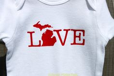 Michigan Love Onesies Mitten Baby Michigan by RoyalMajesTees, $12.50 #baby #michigan #love #onesie #bodysuit #mitten #clothes #apparel #toddler #state #handmade #etsy