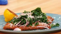 Basic Chicken Milanese with Wilted Kale, Parmigiano-Reggiano, Pan-Roasted Lemon and Olive Oil #chicken #whatsfordinner #dinner #chickenmilanese