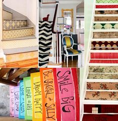 Home Trends 2012 - Stair makeovers - so cute for the stair risers to the lower level...could paint each step a different color to coordinate with the riser...FUN