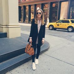 The One-Foot-In-Front-Of-The-OtherFor a curbside outfit shot, position your feet as if you're taking baby steps. It's the secret to true #OOTD magic.  #refinery29 http://www.refinery29.com/instagram-ootd-fashion-blogger-poses#slide-15