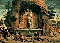 Resurrezione di Cristo, 70x92 cm, Tours, Musée des Beaux-Arts.  - particolare della predella della  Pala di San Zeno è un dipinto, tempera su tavola (con la cornice 480x450 cm, scomparto centrale 125x212, sinistro 135x213, destro 134x213), di Andrea Mantegna, data 1457-1459 e custodita nella collocazione originaria sull'altare maggiore della basilica di San Zeno a Verona.