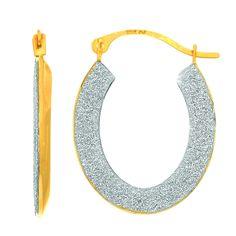 14K Gold Shiny Domed Glitter Half Shell Oval Hoop Earring