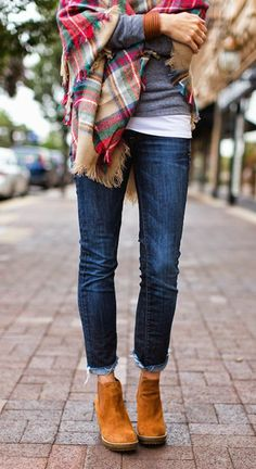 Ankle boots and plaid sweater