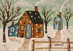 Snow Day ORIG Canvas Panel PAINTING Folk Art Abstract Prim 5 x 7 Karla Gerard #FolkArtAbstractPrimitive