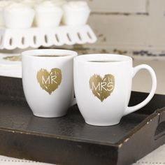 Newly married couples will love these great Mr and Mrs mugs to enjoy with each other after the wedding. What a great keepsake!