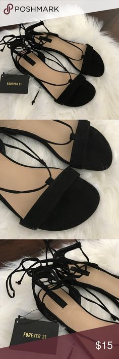 Forever 21 Sandals Here's a super cute pair of black sandals from Forever 21! Brand new with tags size 6! They have strings to wrap around your legs and tie in a knot! Too cute! Excellent shape! Forever 21 Shoes
