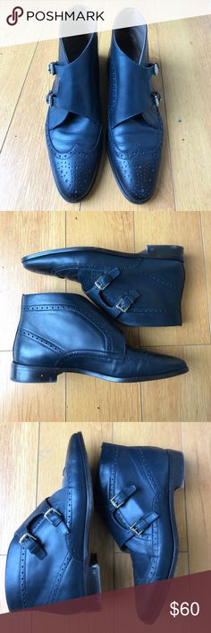 Black leather handmade boots Gorgeous handmade leather boots from Spain with buckle detail. Uterque Shoes Ankle Boots & Booties