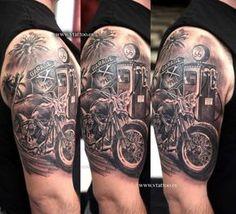 Popular 3D Bike Tattoo For Men's Sleeve