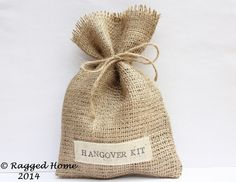10 x Hessian Hangover Kit or Thank You Favour Bags & by RaggedHome Hessian, Favours, Reusable Tote Bags, Kit, Creative, Handmade, Wedding, Etsy, Vintage