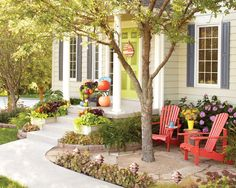 Transform an entry using little more than paint, plants, and hardscaping. — Lowes Creative Ideas Transform an entry using litt Backyard Walkway, Front Yard Landscaping, Landscaping Ideas, Front Patio Ideas, Front Yard Patio Curb Appeal, Patio Stairs, Rustic Landscaping, Patio Fence, Gardens